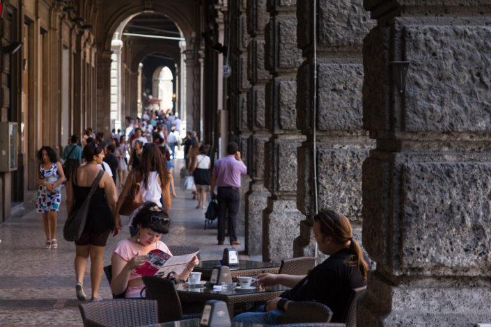 Under the porticos on Via Rizzoli