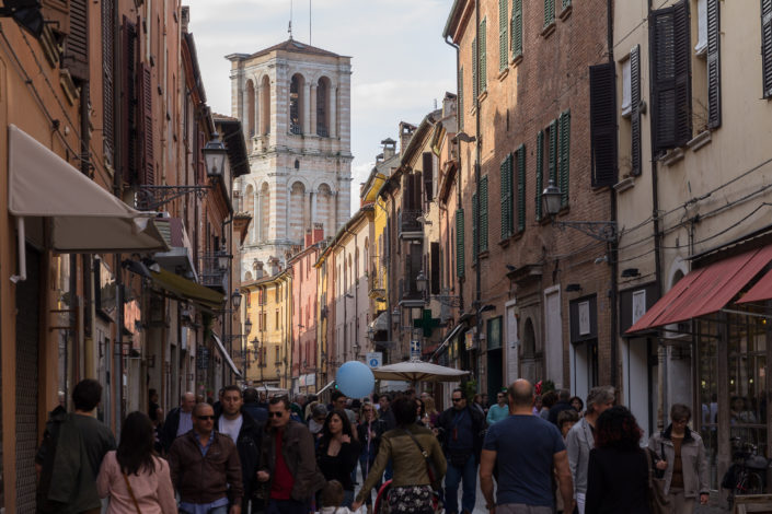 Via Contrari and the cathedral bell tower, Ferrara