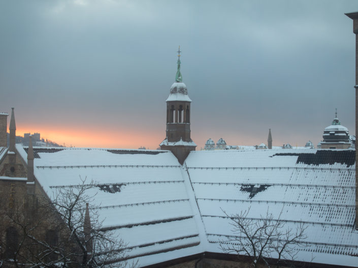Oslo Cathedral rooftop and the Ekeberg Hills at sunrise