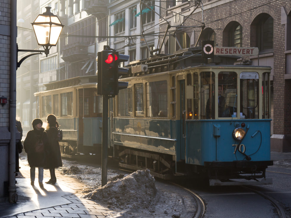 Vintage tram in central Oslo