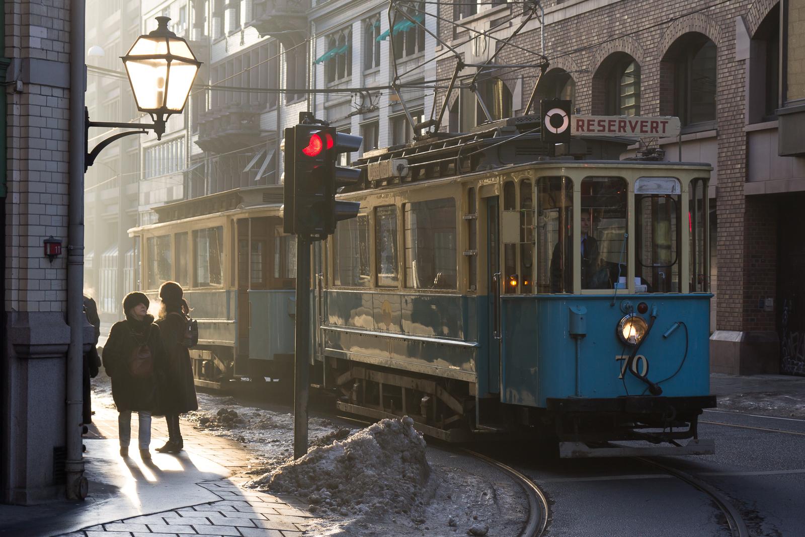 Vintage tram in central Oslo
