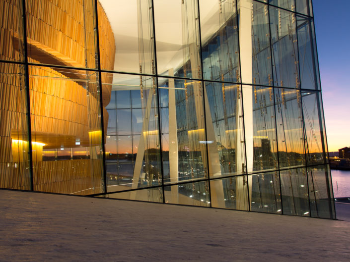 Opera House foaje at night, Oslo Norway
