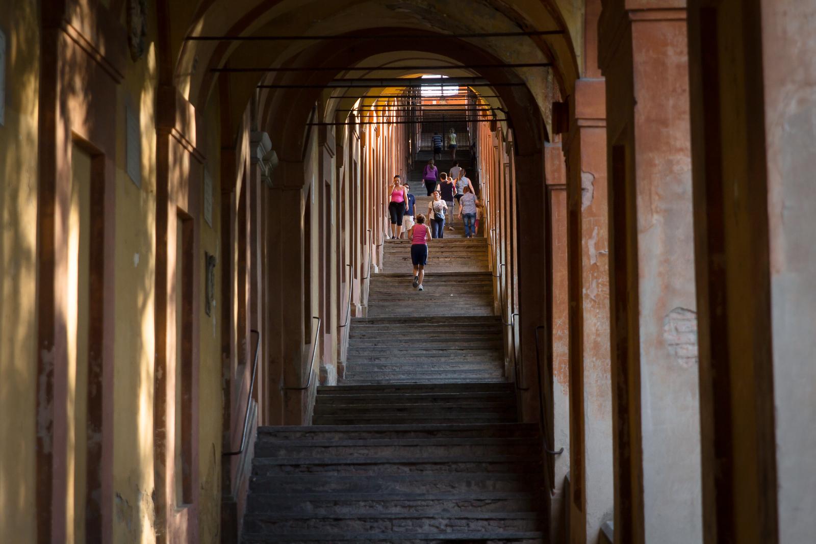 Under the porticos at San Luca, Bologna