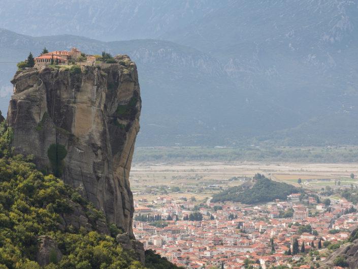 Monastery Of Aghia Triada and the town of Kalambaka