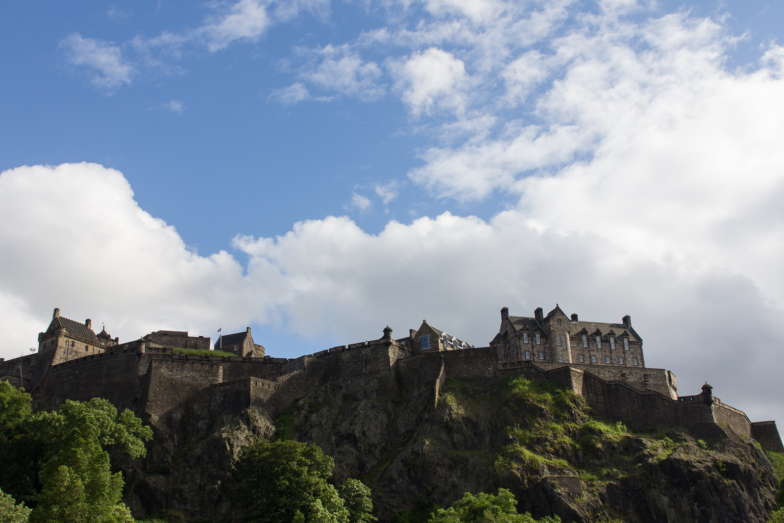 Edinburgh Castle as seen from Princes Gardens