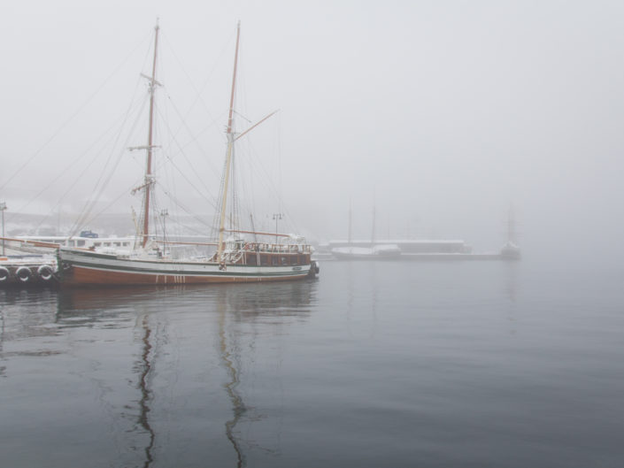 Oslo harbour in winter fog