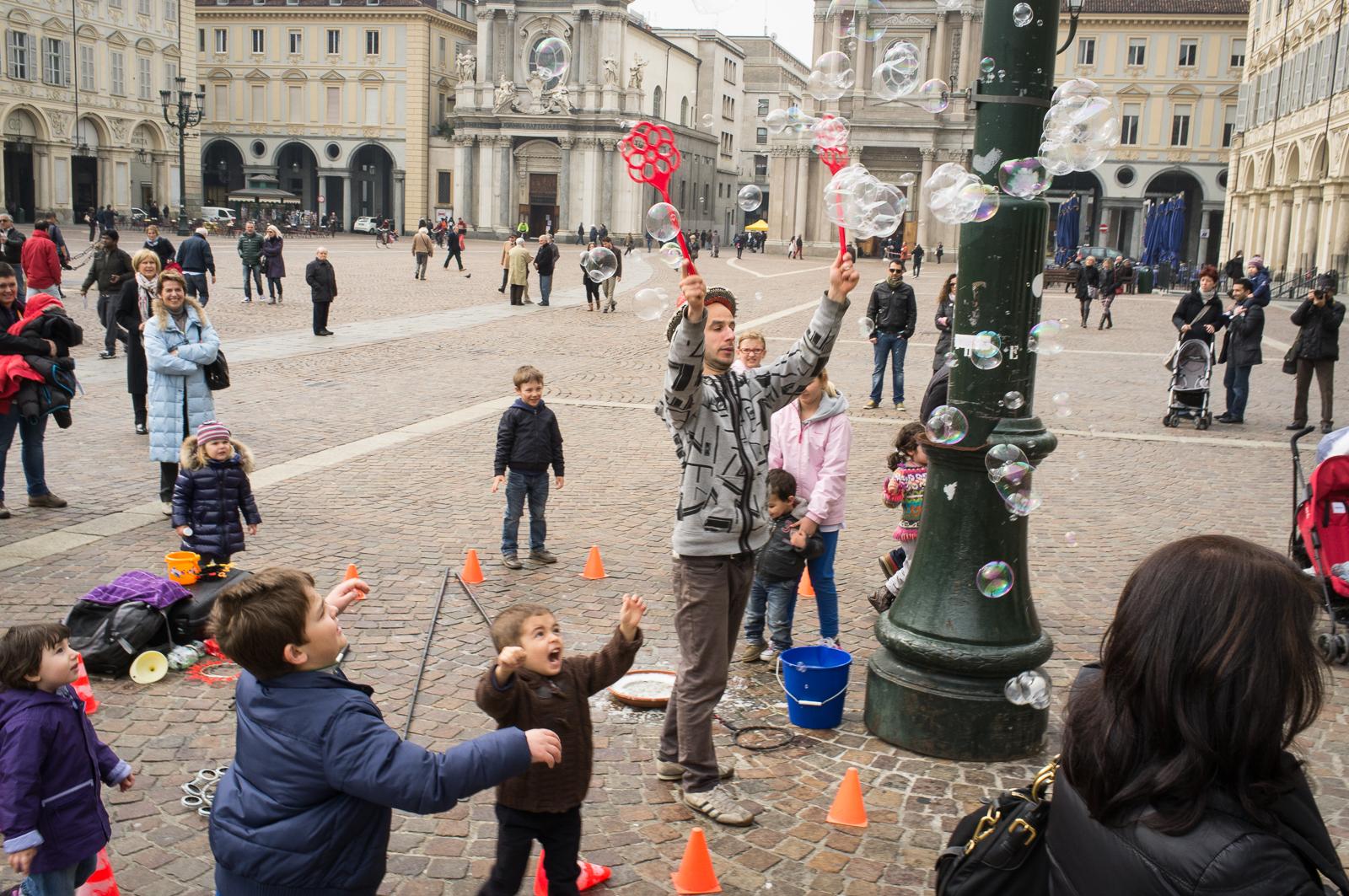 The Bubble Master on Piazza San Carlo