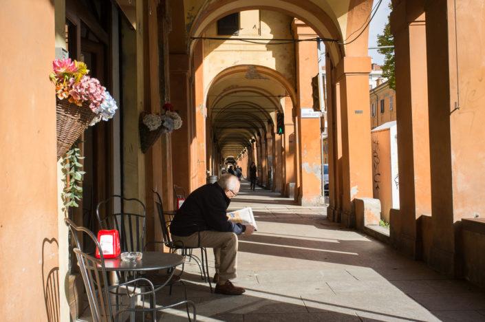 Under the porticoes in via Saragozza, Bologna