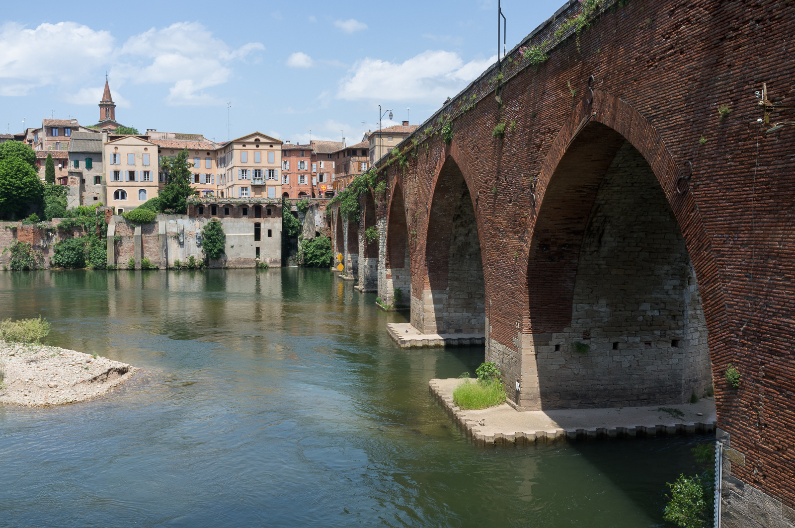 The Old Bridge (Pont-Vieux) over River Tarn in Albi - France