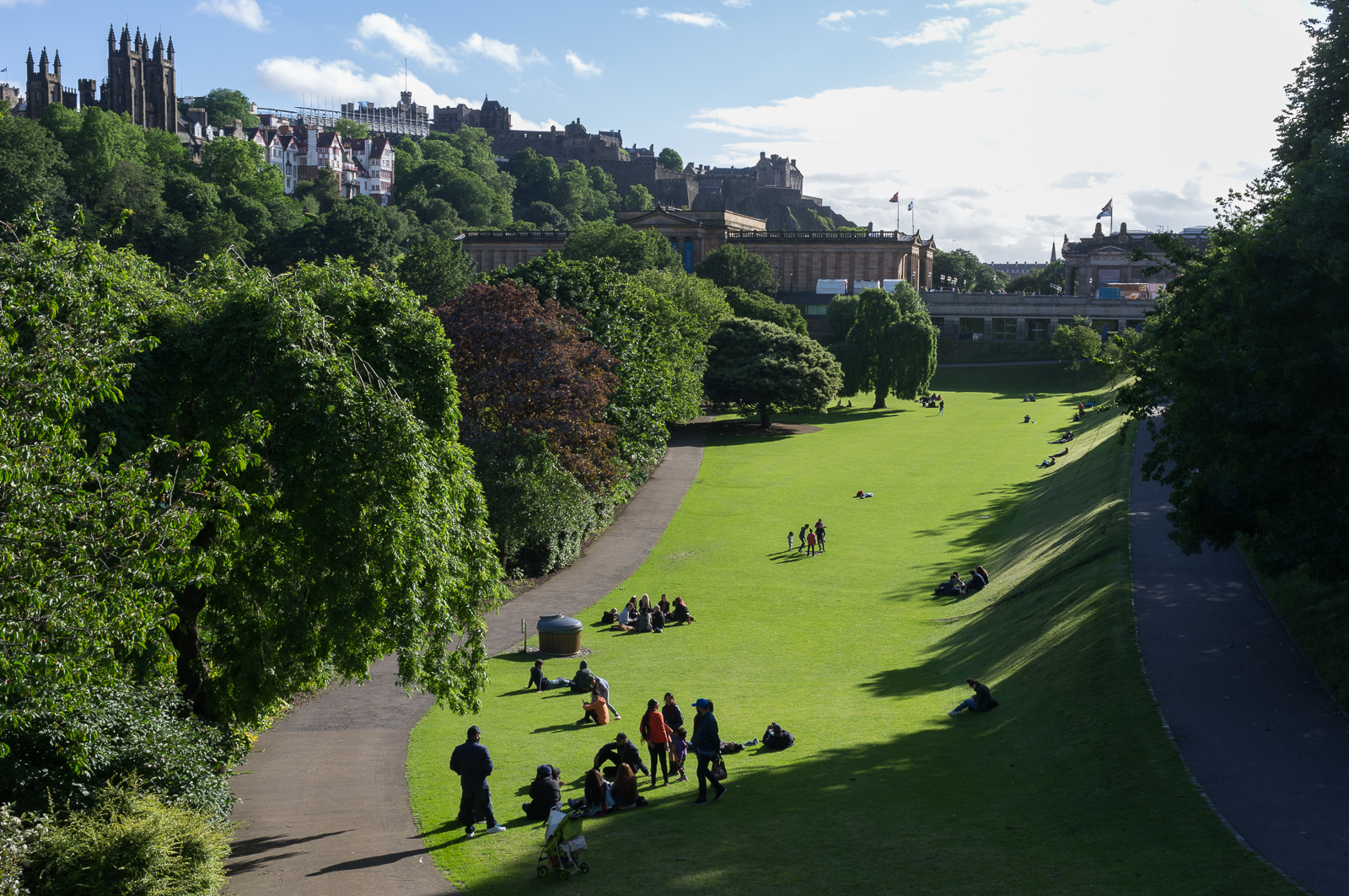 Princes Street Gardens (looking west) with the National Gallery in the background