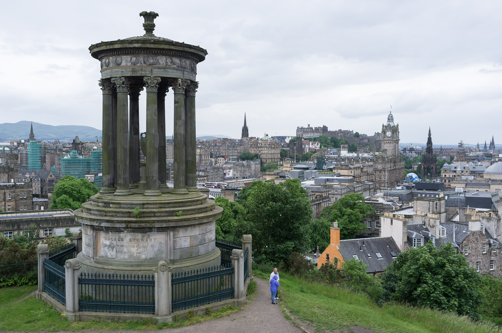 Edinburgh as seen from Calton Hill, with the Dugald Stewart Monument (left)