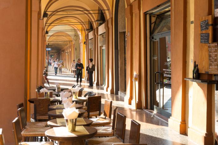 Portico walk to Madonna di San Luca in Bologna