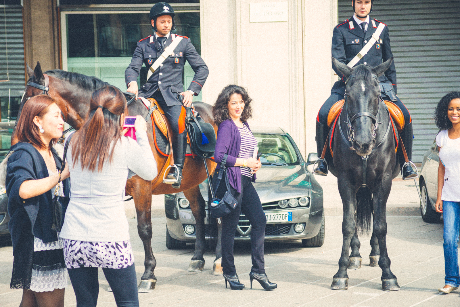 Posing with the police horses