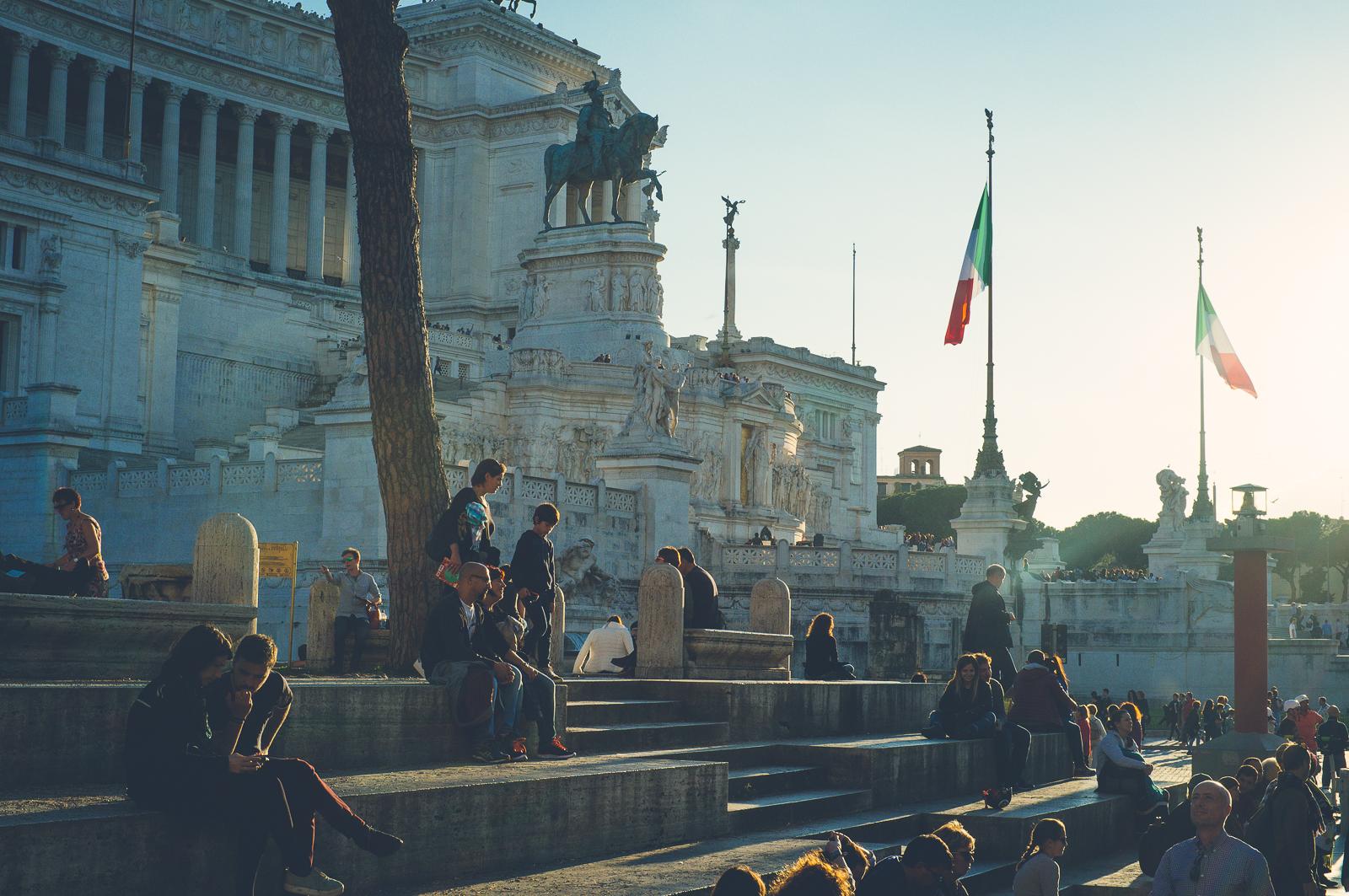 By the Vittorio Emanuele II monument (Altare della partria)