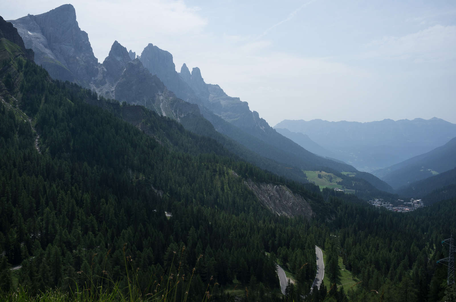 The road up to Passo Rolle (mountain pass)
